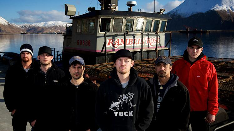 "Ramblin' Rose crew (from L to R) Deckhand Joe Snyder, Deckhand James Creel, Engineer Kevin 'Kado' Davis, Captain Elliott Neese, Deckhand Faresa 'Face' Laulualo and Greenhorn Dustin Wilson star in ""Deadliest Catch."""