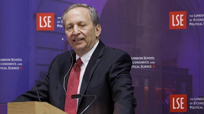 "Former U.S. Treasury Secretary Lawrence H. ""Larry"" Summers speaks during a financial and economic event at the London School of Economics (LSE) in London"