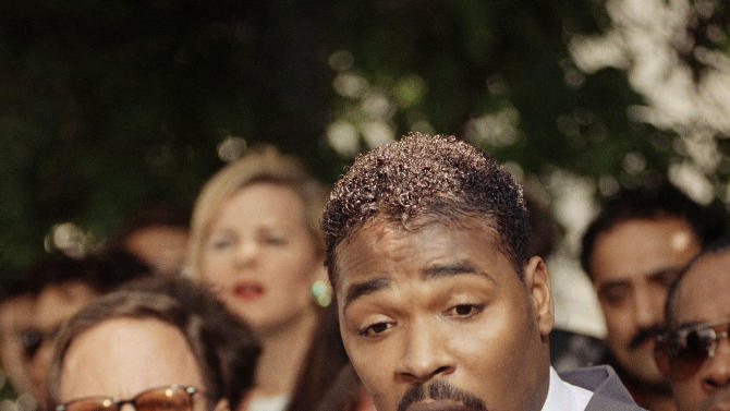 FILE -  This May 1, 1992 file photo shows Rodney King, right, speaking during a news conference in Los Angeles along with his attorney, Steven Lerman, left. King, the black motorist whose 1991 videotaped beating by Los Angeles police officers was the touchstone for one of the most destructive race riots in the nation's history, has died, his publicist said Sunday, June 17, 2012. He was 47. (AP Photo/David Longstreath, file)