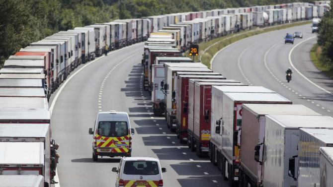Lorries are parked on the M20 motorway as park of Operation Stack in southern England