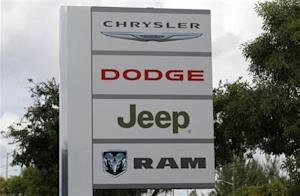 A sign is shown at the Massey-Yardley Chrysler Dodge, Jeep and Ram automobile dealership in Plantation