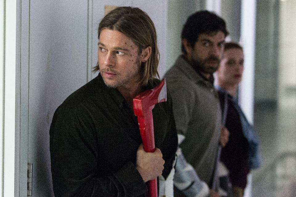 "This publicity image released by Paramount Pictures shows Brad Pitt in a scene from ""World War Z."" (AP Photo/Paramount Pictures, Jaap Buitendijk)"