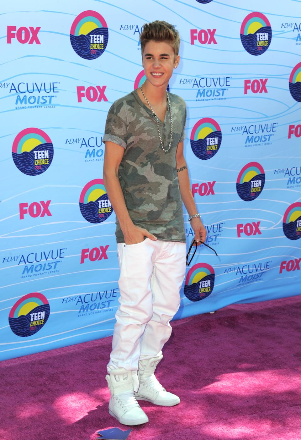 Justin Bieber arrives at the Teen Choice Awards on Sunday, July 22, 2012, in Universal City, Calif. (Photo by Jordan Strauss/Invision/AP)