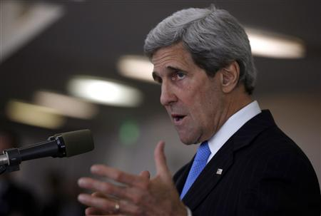 U.S. Secretary of State Kerry speaks at a news conference in Tel Aviv