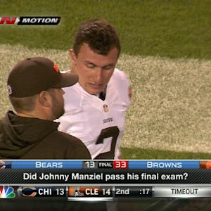 Did Cleveland Browns quarterback Johnny Manziel pass his final exam?