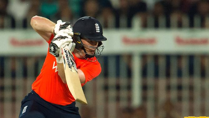 England's Eoin Morgan plays a shot during the third T20 match against Pakistan in Sharjah on November 30, 2015