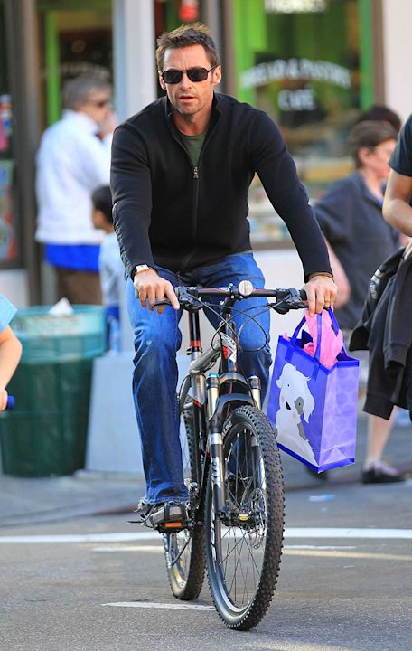 Hugh Jackman Bike Riding