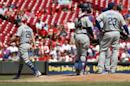 Los Angeles Dodgers starting pitcher Scott Kazmir (29) is relieved in the third inning of a baseball game against the Cincinnati Reds, Monday, Aug. 22, 2016, in Cincinnati. (AP Photo/John Minchillo)