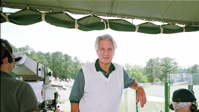 FILE - In this April 10, 1994, file photo, CBS broadcaster Pat Summerall works in the television booth on No. 18 during the final round of the Masters golf tournament at Augusta National Golf Club in Augusta, Ga. Fox Sports spokesman Dan Bell said Tuesday, April 16, 2013, that Summerall, the NFL player-turned-broadcaster whose deep, resonant voice called games for more than 40 years, has died at the age of 82. (AP Photo/Lenny Ignelzi, File)