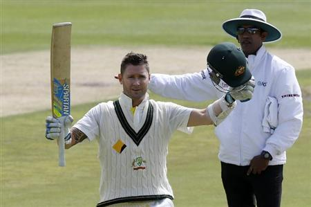 Australia's Michael Clarke celebrates his century on the second day of their third cricket test match against South Africa in Cape Town, March 2, 2014. REUTERS/Mike Hutchings