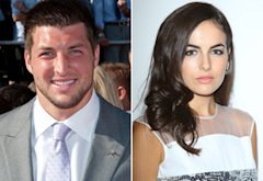 Tim Tebow, Camilla Belle | Photo Credits: Allen Berezovsky/Getty Images;  Michael Tran/FilmMagic