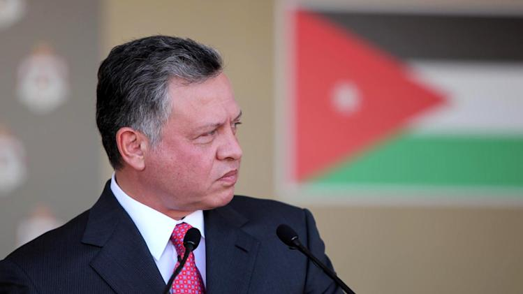 In this photo released by the Jordanian Royal Palace, Jordan's King Abdullah II gives a speech in Amman, Jordan, Tuesday, Oct. 23, 2012. The foiling of a planned Islamist terror plot underscores a new subplot in the story of the Arab Spring: Things are heating up for Jordan's King Abdullah II, a Western-oriented monarch who has run a business-friendly, pragmatic monarchy with some trappings of democracy. (AP Photo/Jordanian Royal Palace, Yousef Allan)