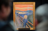 "People view artist Edvard Munch's ""The Scream"" at Sotheby's auction house in central London in April 2012. A version of the ""The Scream"" by Edvard Munch will go on display at the Museum of Modern Art in New York next month for six months, the museum said"