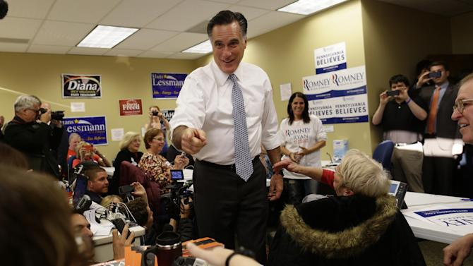 Republican presidential candidate Mitt Romney visits a campaign call center in Green Tree, Pa., Tuesday, Nov. 6, 2012. (AP Photo/Charles Dharapak)
