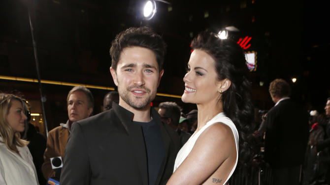 """Matt Dallas and Jaimie Alexander attend the LA premiere of """"The Last Stand"""" at Grauman's Chinese Theatre on Monday, Jan. 14, 2013, in Los Angeles. (Photo by Todd Williamson/Invision/AP)"""