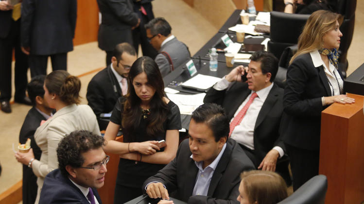 Senator Piter of the PRD speaks with other senators, after fellow party members interrupted a debate on an energy reform bill at the Senate in Mexico City