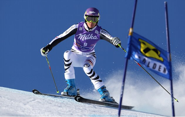 Germany's Maria Riesch speeds down the course during an alpine ski, women's giant slalom in Soelden, Austria, Saturday, Oct. 22, 2011. (AP Photo/Alessandro Trovati)
