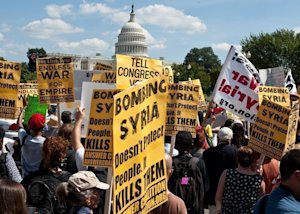Anti-war protesters rally in Washington during a demonstration…