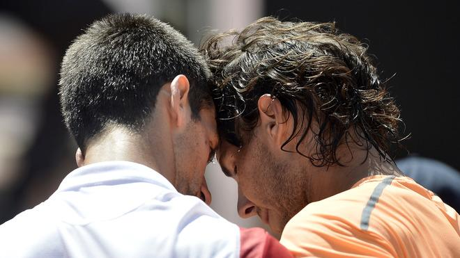 TOPSHOTS Spanish Rafael Nadal (R) Is Congratulated By Serbian Novak Djokovic At The End Of The Final Of The AFP Rome AFP/Getty Images