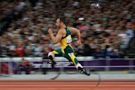 South Africa's Oscar Pistorius competes in the men's 200m T44 round 1 athletics event during the London 2012 Paralympic Games. Pistorius began the defence of his three Paralympic sprint titles with a bang, breaking the world record in the T44 200m to qualify for the final
