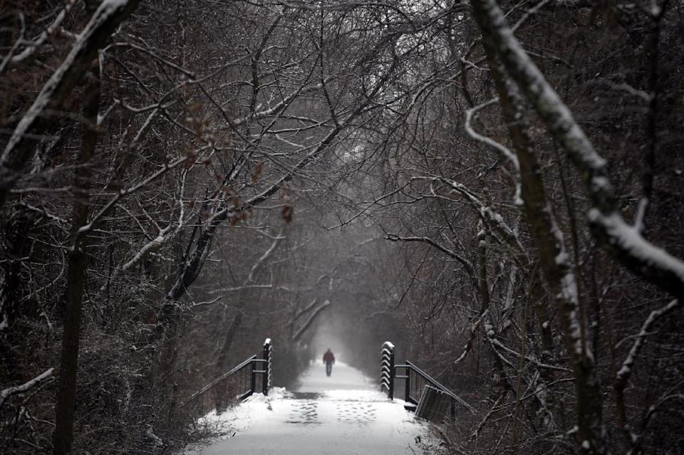 Rayburn Vandergrift walks along the snowy and misty Huckleberry Trail after a winter storm deposited snow in Blacksburg Va., Friday, Feb. 8, 2013. (AP Photo/The Roanoke Times, Matt Gentry)
