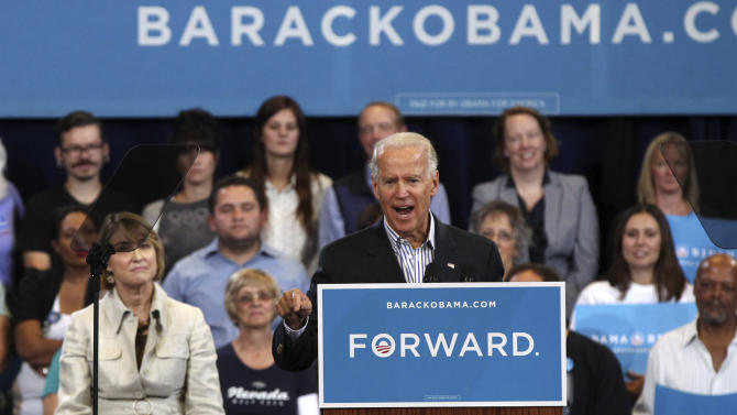 Vice President Joe Biden speaks at a campaign event in Reno, Nev., Wednesday, Oct. 17, 2012. (AP Photo/Cathleen Allison)