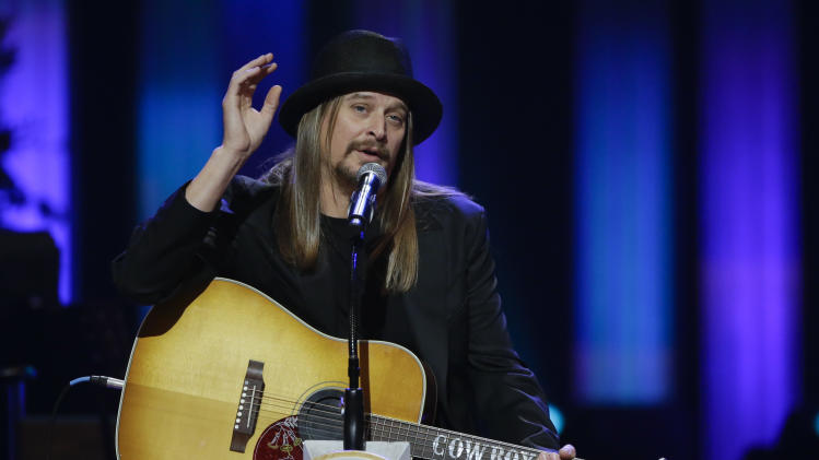 Kid Rock speaks during the funeral for country music star George Jones in the Grand Ole Opry House on Thursday, May 2, 2013, in Nashville, Tenn. Jones, one of country music's biggest stars who had No. 1 hits in four separate decades, died April 26.  (AP Photo/Mark Humphrey, Pool)