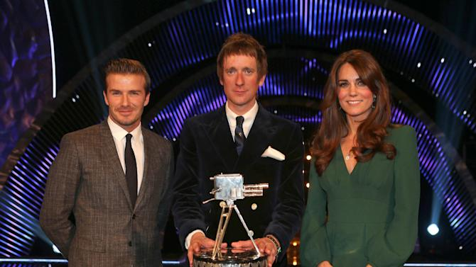 Winner of Sports Personality of the Year 2012, British cyclist Bradley Wiggins with David Beckham, left, and Kate, the Duchess of Cambridge pose for the media during the BBC Sports Personality of the Year Awards 2012 in London, Sunday Dec. 16, 2012. (AP Photo/David Davies, PA) UNITED KINGDOM OUT: NO SALES: NO ARCHIVE