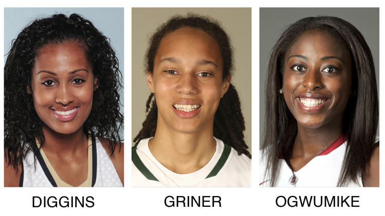 These 2012 photos provided by their respective schools show members of the 2012-13 AP Women's All-America NCAA college basketball team. From left: Elena Delle Donne, Delaware; Skylar Diggins, Notre Dame; Brittney Griner, Baylor; Chiney Ogwumike, Stanford and Odyssey Sims, Baylor. (AP Photo)