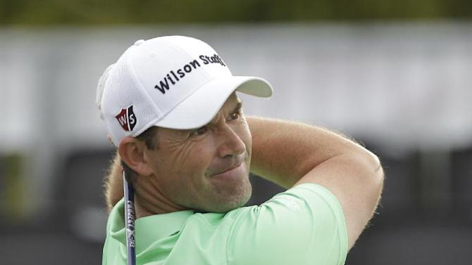 Padraig Harrington, of Ireland, hits from the first tee during the first round of the Honda Classic golf tournament, Thursday, Feb. 26, 2015 in Palm Beach Gardens, Fla.. (AP Photo/Luis M. Alvarez)
