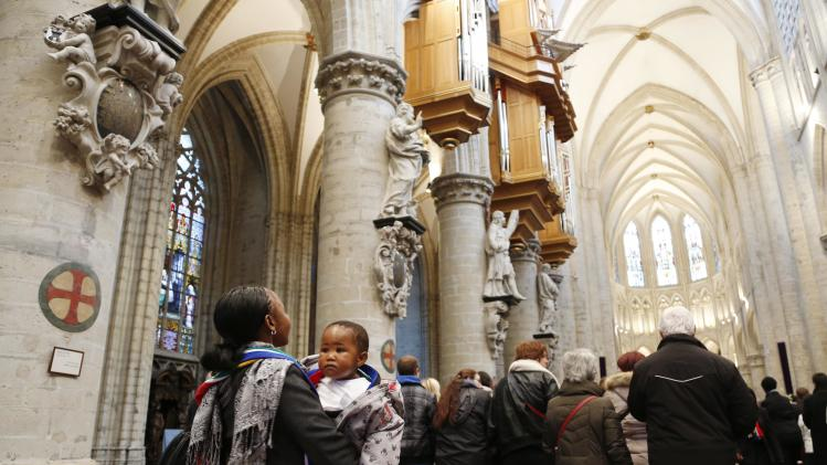 South Africa's Majozi and her daughter attend a memorial service for former South African President Mandela in Brussels