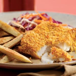 Friday: Oven-Fried Fish & Chips (recipe below)