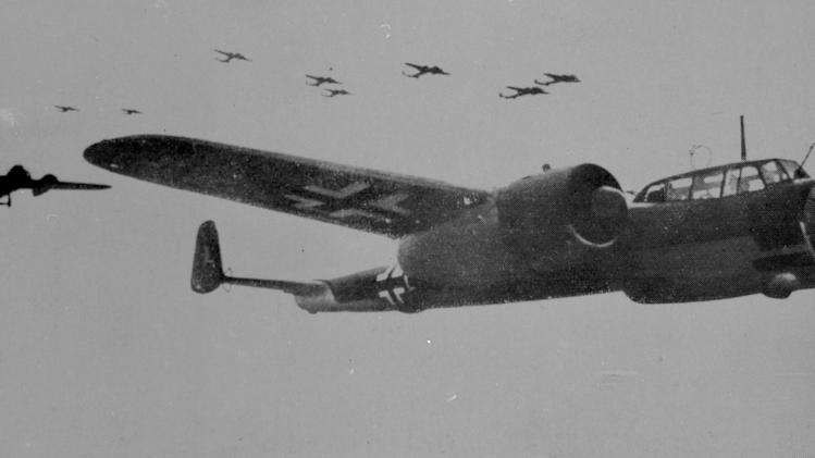 "This photo made available on Friday May 3, 2013 by the RAF Museum London shows a formation of German WWII Dornier Do17 bombers. The only known surviving example of the German Dornier Do 17 bomber known as the ""flying pencil"" is to be salvaged from its watery grave in the English Channel. RAF Museum director Peter Dye said Friday the bomber is roughly 60 feet below the surface and that bringing it to the surface intact will be tricky. (AP Photo/RAF Museum)"