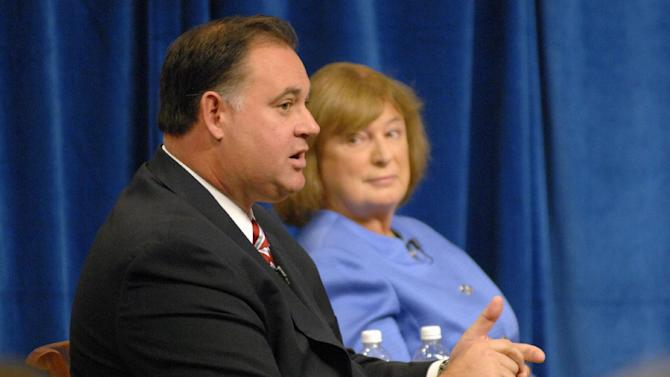 FILE - This Sept. 17, 2012 file-pool photo, then-Incumbent Rep. Frank Guinta, R-N.H., and his Democratic challenger Carol Shea-Porter debate during the 1st Congressional District forum at St. Anselm College in Manchester, N.H. Republicans in competitive races are treading gingerly around climate change this campaign season. Many say they are not in a good position to make a judgment about the issue, then voice concern for the environment, the economy or both. (AP Photo/The Union Leader, David Lane, File-Pool)