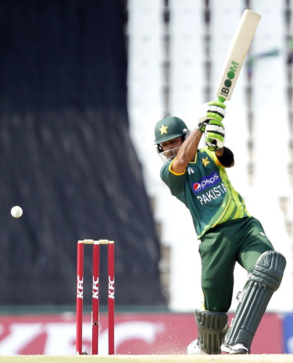 Pakistan's captain Hafeez plays a shot during their Twenty20 cricket match against South Africa in Pretoria