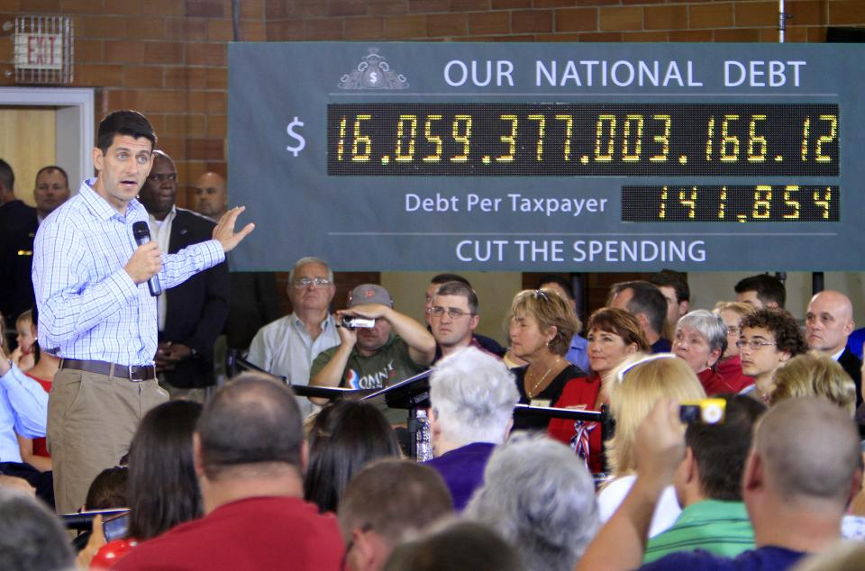 Republican vice presidential candidate Rep. Paul Ryan, R-Wis., talks about the national debt during a campaign stop, Tuesday, Sept. 18, 2012 in Dover, N.H. (AP Photo/Jim Cole)