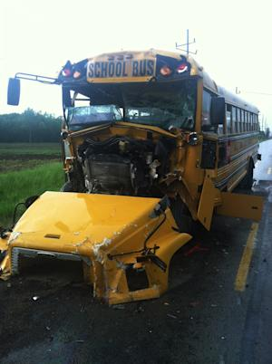 This image provided by the Kosciusko County Sheriff's Department shows the front of a school bus that slammed into the back of another bus, setting off a chain-reaction crash involving four buses in North Webster, Ind., Wednesday, May 22, 2013 The crash left dozens of middle and high school students with non-serious injuries and one driver seriously injured. (AP Photo/Kosciusko County Sheriff's Department)