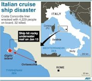 Map of western Italy locating Giglio Island, where the Costa Corcordia liner with 4,229 people on board struck an offshore reef and keeled over on January 13. Europe's top cruise operator has come under pressure at pre-trial hearings into the Costa Concordia disaster as captain Francesco Schettino faced survivors for the first time