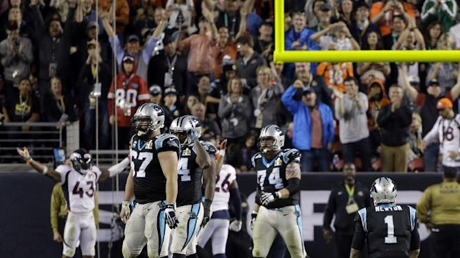 Carolina Panthers' Cam Newton (1) sits on the field after he fumbled the ball during the second half of the NFL Super Bowl 50 football game Sunday, Feb. 7, 2016, in Santa Clara, Calif. (AP Photo/Julie Jacobson)