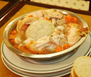 Famous 4th Street Delicatessen's signature dish, Chicken Soup, in Philadelphia, PA.