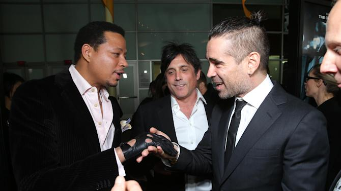 "Terrence Howard, Screenplay Writer J.H Wyman and Colin Farrell at FilmDistrict's World Premiere of ""Dead Man Down"" held at the ArcLight Hollywood, on Tuesday, Feb. 26, 2013 in Los Angeles. (Photo by Eric Charbonneau/Invision for FilmDistrict/AP Images)"