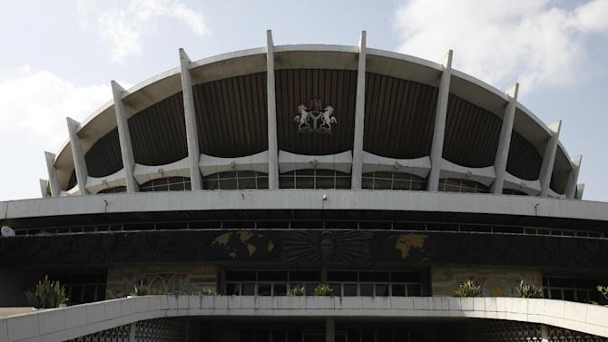 The National Theatre is seen in Lagos, Nigeria, on Wednesday, April 3, 2013. Nigeria's iconic National Theatre, long in disrepair, is now at the center of a massive redevelopment plan that could be worth millions of dollars. Nigeria's federal government has plans to use money leasing the swampy land in Lagos around the theater to private investors so they can build a mall, a five-star hotel and other amenities. However, some have doubts that the project will actually raise money for the theater. Meanwhile, the plans have already likely encouraged local officials to demolish the homes of slum dwellers living around the theater. (AP Photo/Sunday Alamba)