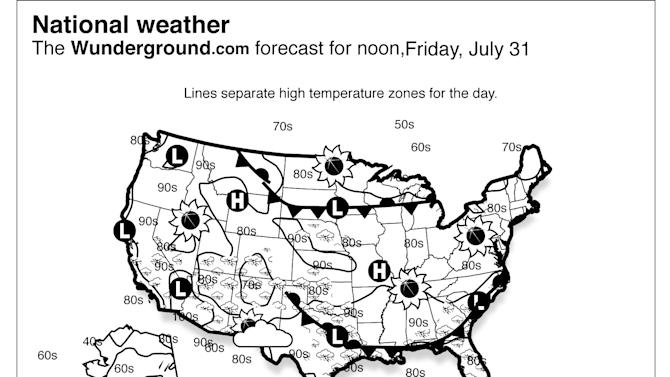 This is the Weather Underground national forecast for Friday, July 31, 2015. A system of fronts will bring a risk of showers and thunderstorms to the Eastern Seaboard and the Gulf Coast. A second system will bring some wet weather to parts of the Midwest as well. Conditions should be largely dry over the Pacific Northwest. (Weather Underground via AP)