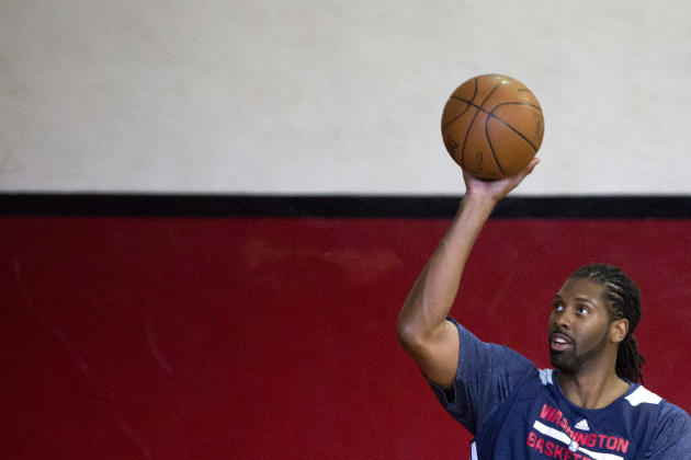 Washington Wizards' Nene, from Brazil, shoots during a practice session ahead of a NBA Global Games match against the Chicago Bulls in Rio de Janeiro, Brazil, Wednesday, Oct. 9, 2013. Washington Wizar