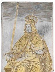Among a set of playing cards from 400 years ago was this king of swords, with the ruler dressed as a Holy Roman Emperor. [<a href=http://www.livescience.com/25065-ancient-silver-playing-cards.html>See more photos of the cards</a>]