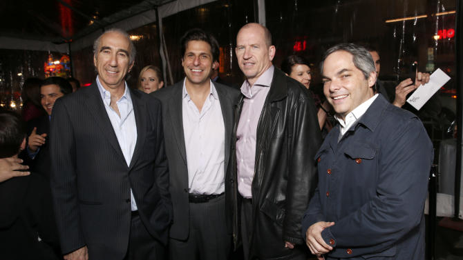 """Chairman and CEO of MGM Gary Barber,  President of MGM Jonathan Glickman, Vice Chairman of Paramount Pictures Corporation Rob Moore and President/ Paramount Film Group Adam Goodman attend the premiere of """"Hansel & Gretel Witch Hunters"""" on Thursday Jan. 24, 2013, in Los Angeles.  (Photo by Todd Williamson/Invision/AP)"""