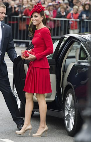 Kate Middleton Dons Red Alexander McQueen for Queen&amp;#39;s Jubilee Celebration 2012