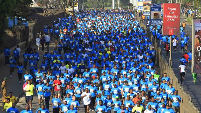 A general view of participants in the Standard Chartered Nairobi Marathon in Nairobi