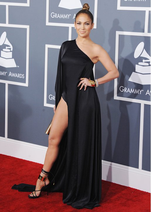 Who could forget Jennifer Lopezs plunging neckline at the 2000 Grammys? For sure this look is just as memorable as she pulls off an Angelina Jolie leg at this years Grammys.