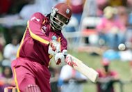 Chris Gayle, pictured on July 1, marked his return to five-day cricket by hitting 150 as the West Indies moved past New Zealand's 351 all out on the third day of the opening Test here by tea